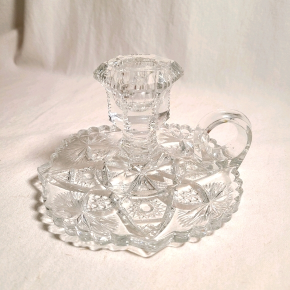 EAPG pressed glass chamber candlestick vintage 🌟